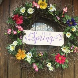 hello spring diy long wreath front door