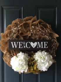 welcome key front door wreath
