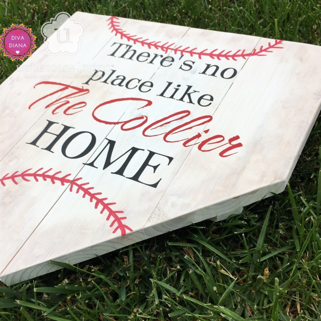 z Completed Custom theres no place like the collier home home plate baseball (2)